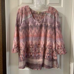 Energe World Wear Pink Print V Neck 3/4 Sleeve Top